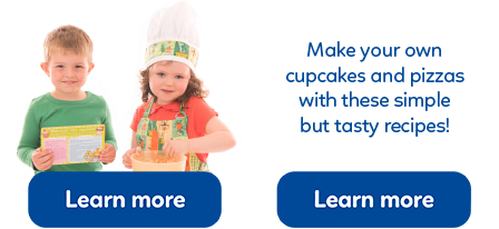 Just a few tasty recipes for kids, from pizza to cupcakes, for you to create with your children.