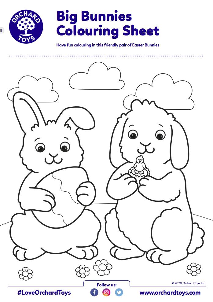 Big bunnies Colouring Sheet