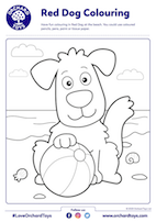 Red Dog Colouring Sheet