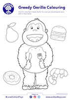 Greedy Gorilla Colouring Sheet