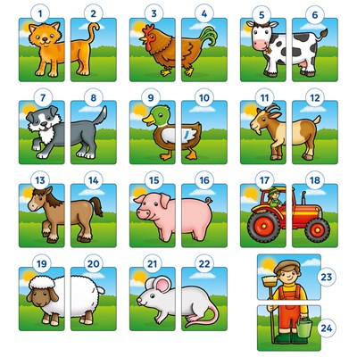Farmyard Heads and Tails Game Misplaced Pieces