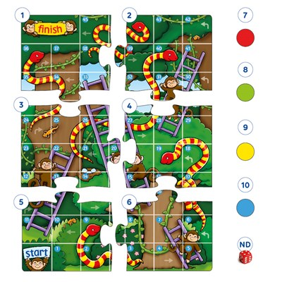 Jungle Snakes & Ladders Mini Game Misplaced Pieces
