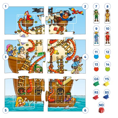 Pirate Snakes and Ladders & Ludo Board Game Misplaced Pieces